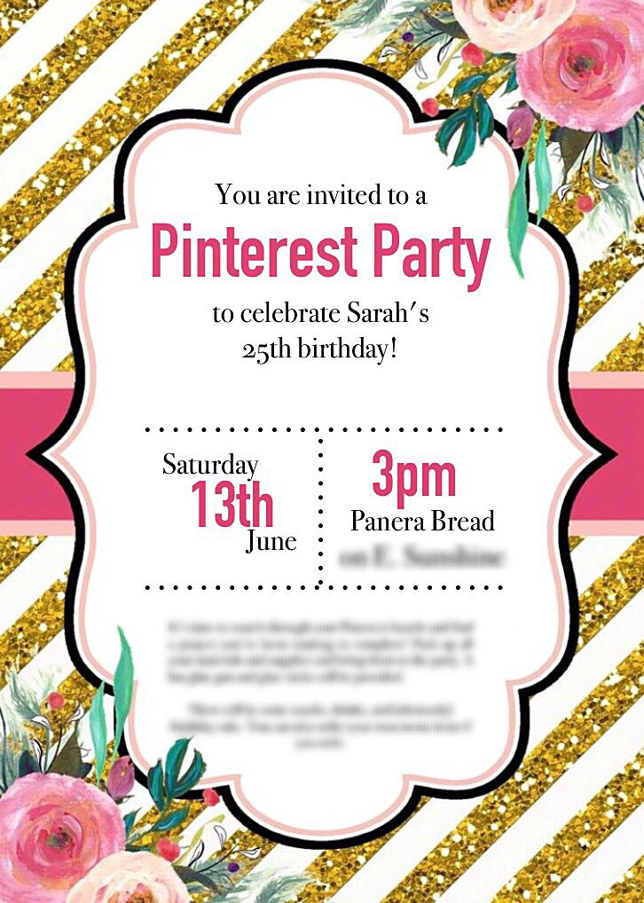 Pink, Gold Glitter, and Floral Invitation This would make ...