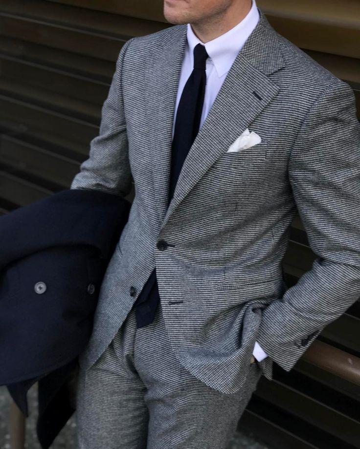 Mr Derek Bleazard Grey Houndstooth Flannel Suit White Tab Collar