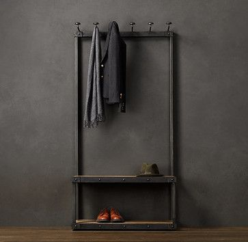 Coat Rack Bench, 3 Foot, $1,195 Lots of hooks and storage for your mudroom. — spearmintdecor.com Specifications Sold By Restoration Hardware | Visit Store  Eclectic Cost Plus World Market has a similar item for much less.