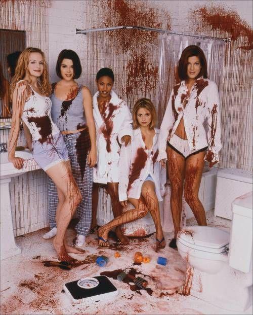 The women of Scream 2 (1997). From left to right: Heather Graham, Neve Campbell, Jada Pinkett-Smith, Sarah Michelle Gellar, Tori Spelling.