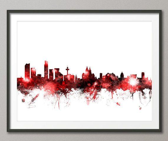 Liverpool Skyline, Liverpool England Cityscape Art Print (1422)