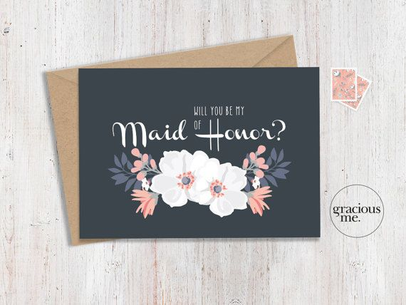 Maid of Honor Card 'Will You Be My' by GraciousMeShop