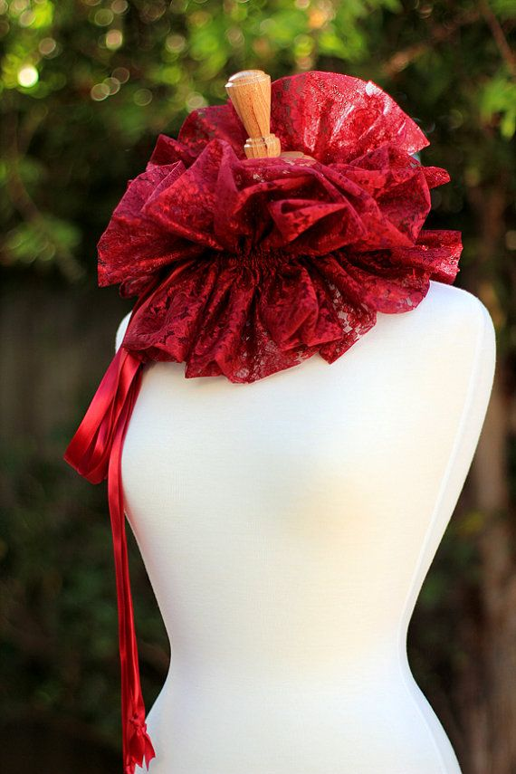 Burgundy Lace kraag Fashion nek Ruff voor door mademoisellemermaid