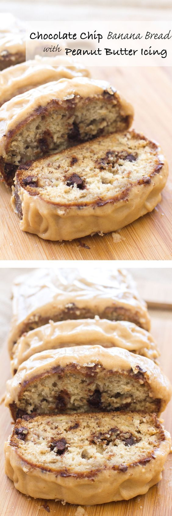 Chocolate Chip Banana Bread with Peanut Butter Icing|