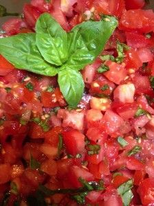 The quality of this recipe completely depends on the quality of the tomatoes!  Get the ripest, juiciest you can find!  (I always grow tons of cherry tomatoes in the summer!) 20-24oz fresh tomatoes (4-5 roma tomatoes or 3-4 regular tomatoes) diced small 1...