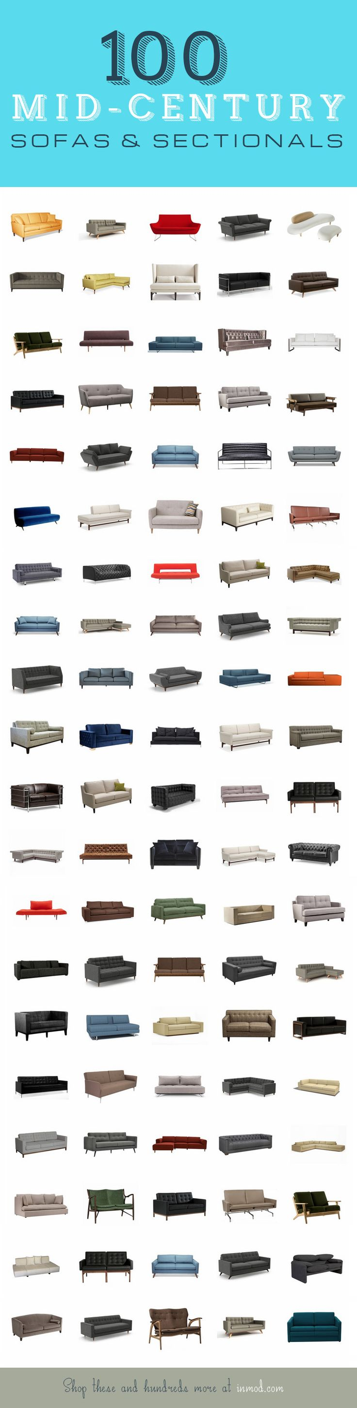 100 of our favorite Mid-Century / Modern Sofas & Sectionals from Inmod. With hundreds more, many of them customizable & totally affordable, finding that perfect mid-century conversation or accent piece has never been easier! #midcentury #sofas #modern