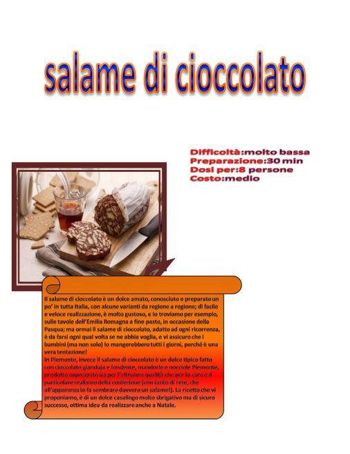 SALAME DI CIOCCOLATO 1E Alberghiero - Presentazione RICETTA - Community - Google+