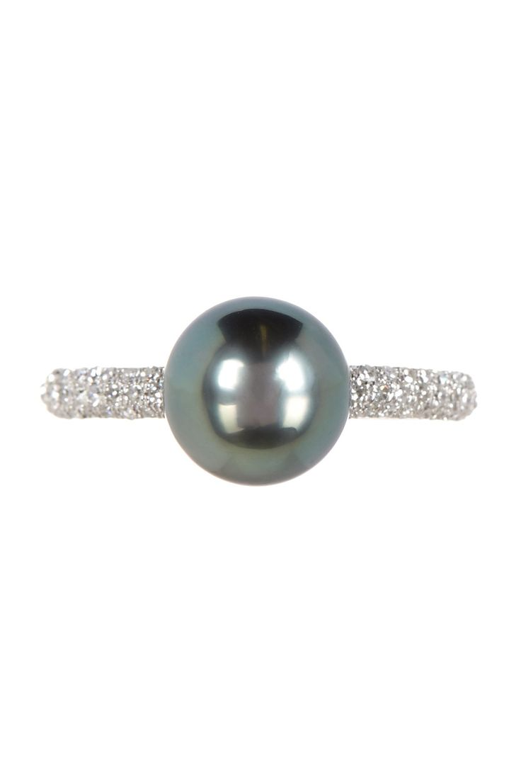 Effy 14K White Gold Diamond & 9mm Black Tahitian Pearl Ring - Gift With Purchase by Effy on @HauteLook