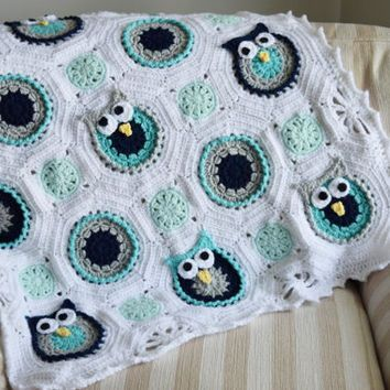 Baby Owl Blanket - Crochet baby blanket- soft baby blanket - babyshower gift…