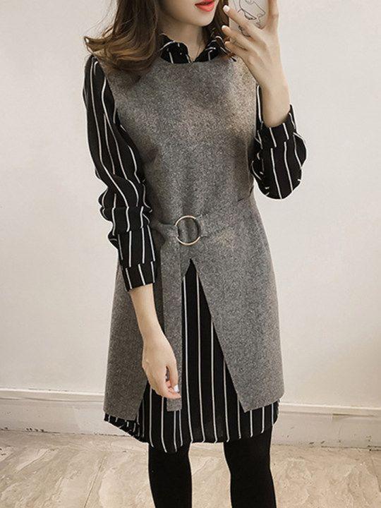 Vertical Striped Two-Piece Shift Dress  -  fashionMe.com