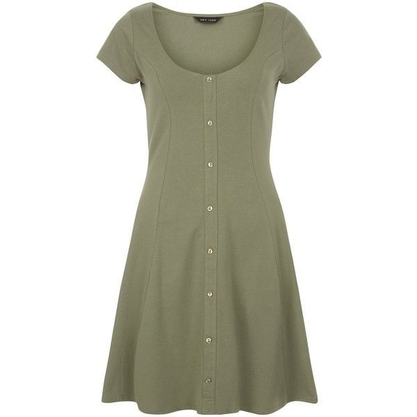 New Look Khaki Button Front Skater Dress ($19) ❤ liked on Polyvore featuring dresses, khaki, green dress, button down front dress, green skater dress, khaki dresses and button up front dress