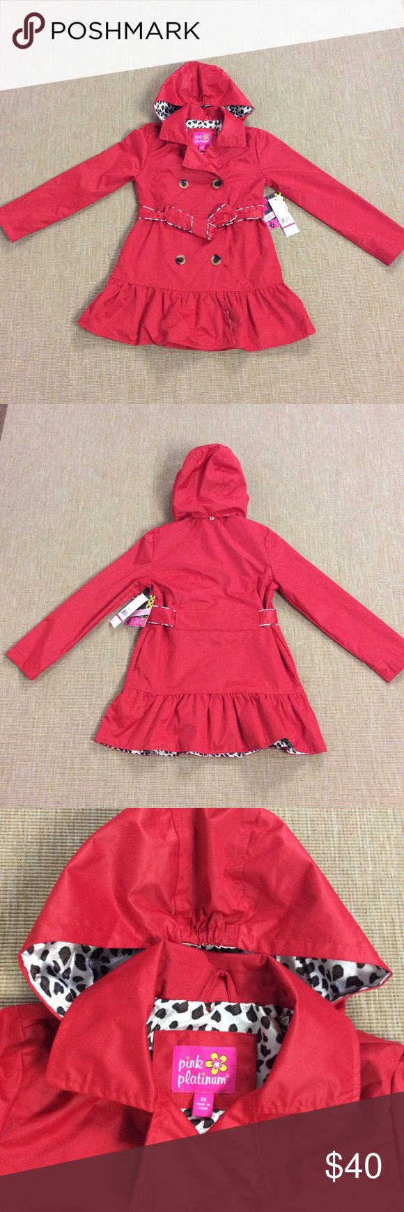 Pink Platinum Little Girls Trench Coat Jacket 6X In excellent condition Pink Platinum Jackets & Coats