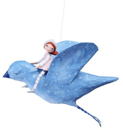 papier mache bird and girl...could make something similar out of clay.