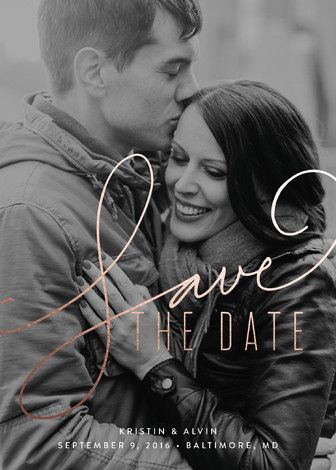 """""""Signature"""" - Hand Drawn, Simple Foil-pressed Save The Date Cards in Rose Gold by Jessica Williams."""