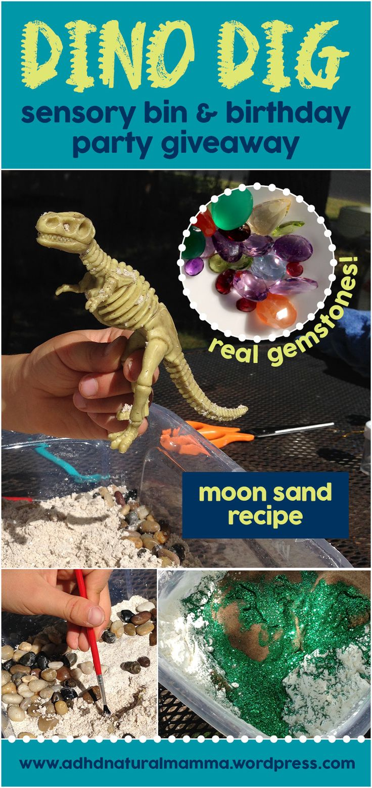 Dinosaur dig sensory bin and birthday party giveaway favor - paleontology excavation - moon sand recipe - dino fossils - real gemstones and seashells - sensory processing disorder - adhd - play - imagination
