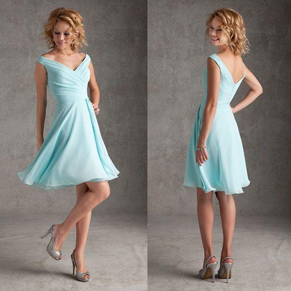 Free shipping a line sexy v neckline chiffon knee length for Light blue beach wedding dress