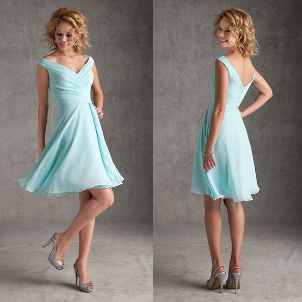 Free Shipping  A-line Sexy V  Neckline Chiffon Knee Length Short  Bridesmaid Dresses Light Sky Blue Wedding Party Dress BR-056 US $95.85