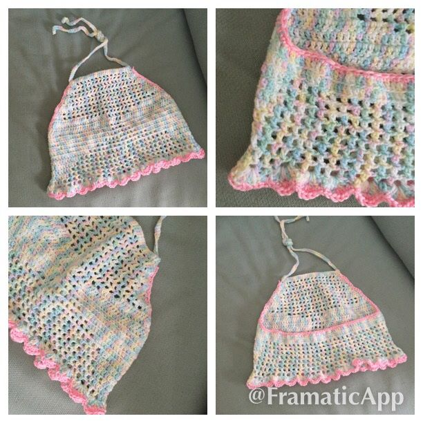 Summer beach girls halter cropped backless tops fit S to L handmade hand knitted info : scatering@yahoo.com. Price $ 35