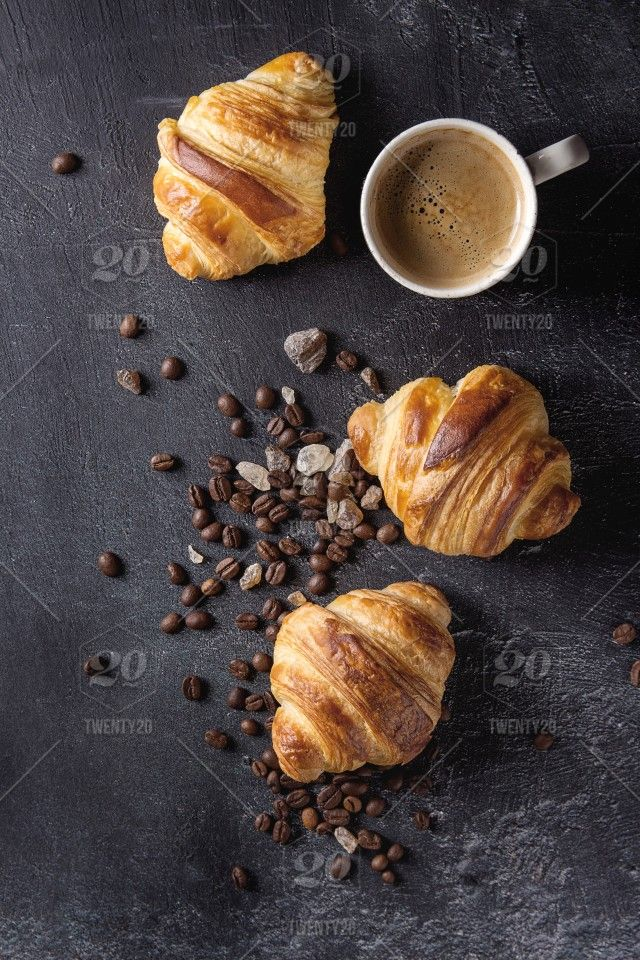 Stock Photo Bread Black Food And Drink Breakfast Coffee Bake Coffee Beans Croissants Flat Lay Food Food Coffee Breakfast Photographing Food