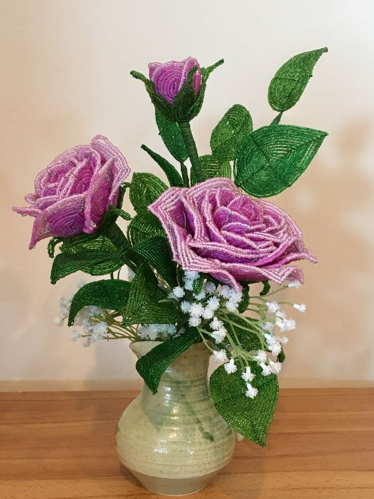 French beaded pink roses