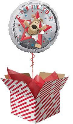 Boofle Congratulations Balloon - Sent Inflated with helium in large red and white candy stripe box