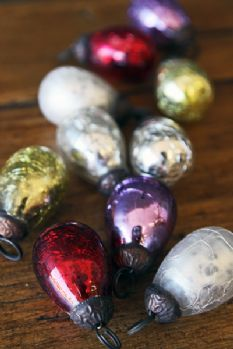 Set of 10 Miniature Christmas Bauble Decorations - Mixed Colours