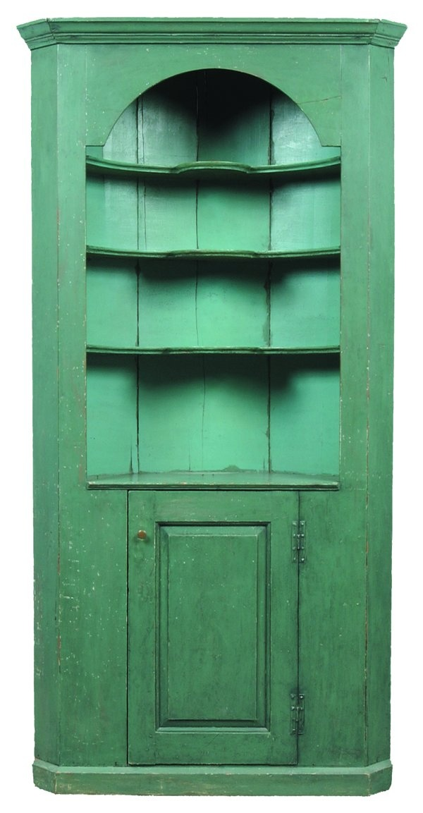 "Good New England Barrel Back Softwood Single Part Corner Cupboard dated 1770, molded cornice and molded convex shelves with plate grooves, single raised panel door with molded base, rose head nail construction, later old green paint, (some restoration), 85"" x 43-1/2"" x 16""."