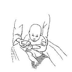 Hand to Foot To promote awareness of the hands and feet. This activity can be done sitting (as pictured), or with child lying on the back or side. The child should be relaxed. Hold one arm at the elbow and one leg at the knee. Bring hand and foot together.  Desired Response Child will actively move. Child will become more aware of these areas of the body.