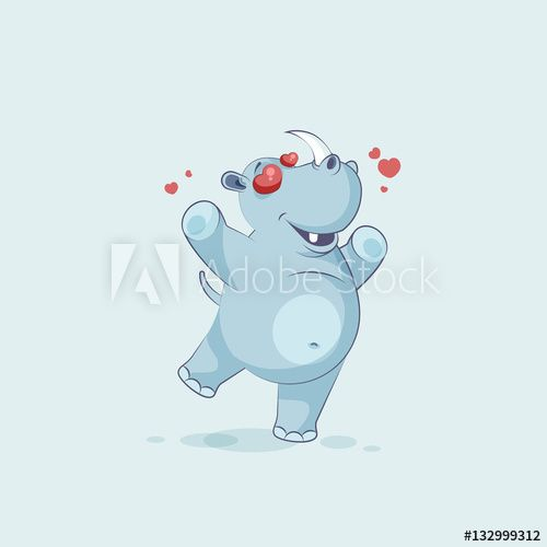 Illustration isolated emoji character cartoon rhinoceros in love flying with hearts sticker emoticon