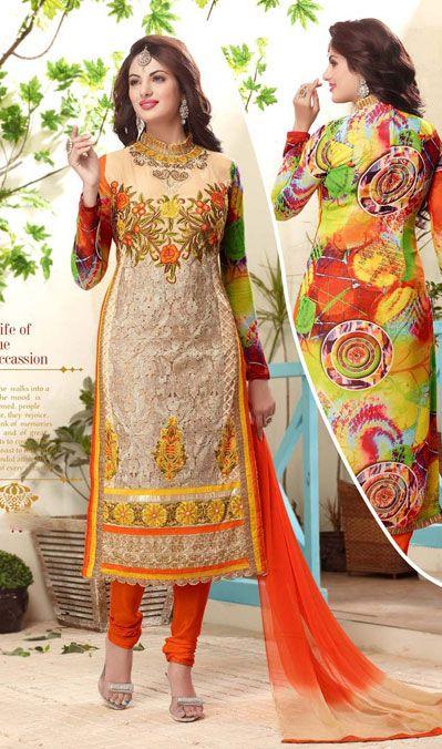 19856c3757 Cream Karachi Work Party Wear Churidar Suit 40228 | Party Wear Salwar Suit  | Churidar, Churidar suits, Salwar kameez