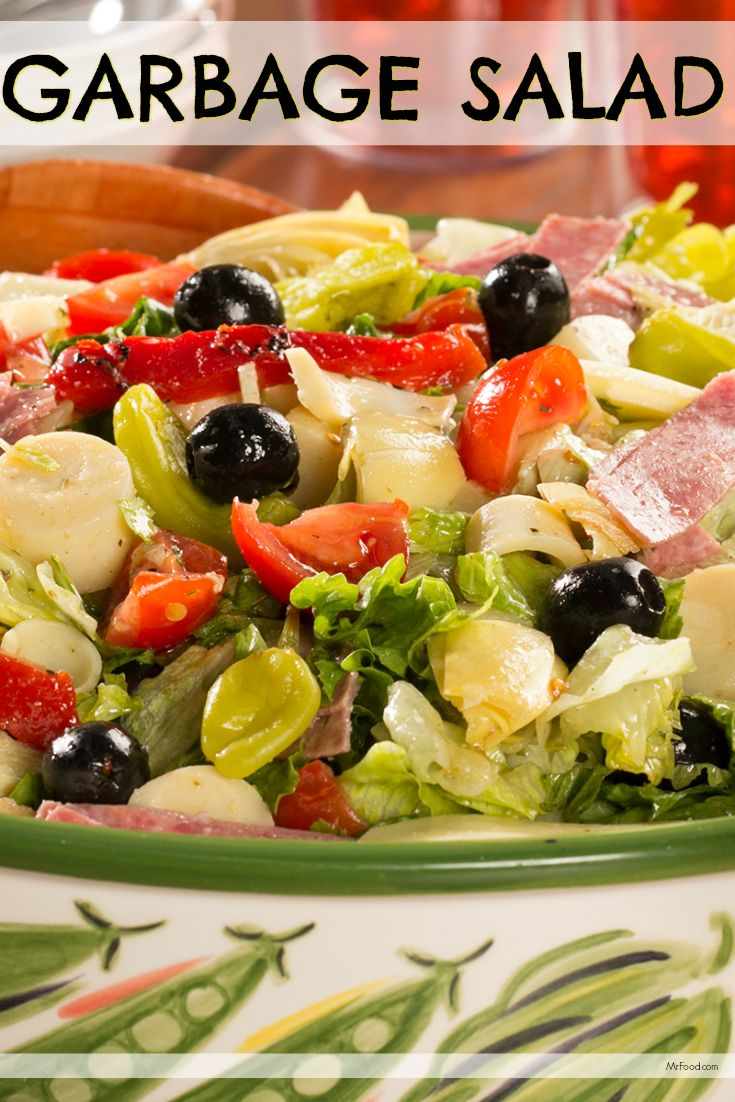 It may be called Garbage Salad, but you're definitely NOT going to be throwing this away. This salad is absolutely loaded with veggies, cheese, and deli-style salami. Yum!