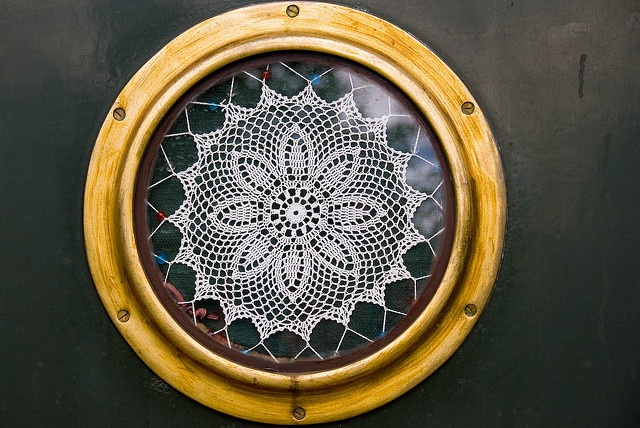 Lace work in a Canal Barge Window by david.nikonvscanon, via Flickr