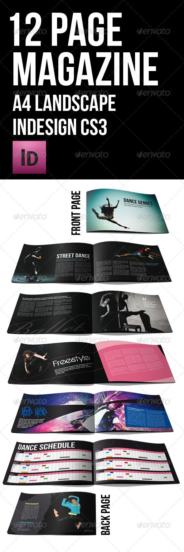 12 page black themed brochure a4 landscape