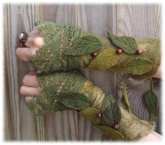 Forest Cuffs - Faerie Cuffs - Vintage lace cuffs............ after just a little light weeding.