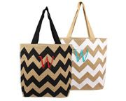 Personalized Chevron Natural Jute Tote Bags Multiple Colors Available