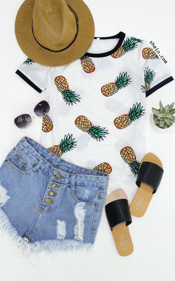 Multicolor Short Sleeve Fruit Print T-shirt