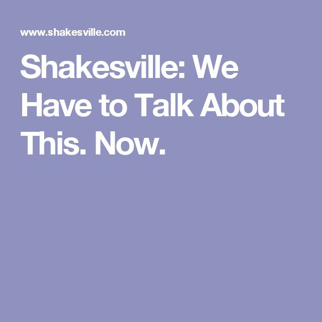 Shakesville: We Have to Talk About This. Now.