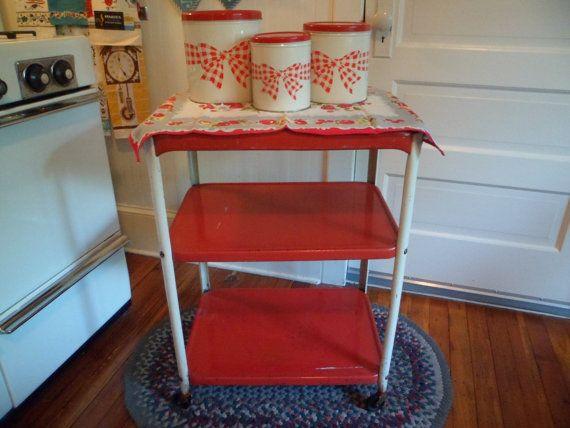 Vintage Mid Century Cosco Metal Kitchen Utility Serving Cart