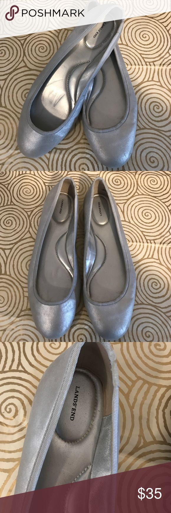 🇺🇸 Lands Ends size 11 silver ballet flats Lands Ends size 11 silver ballet flats. Gently used some wear showing in shoes and underside, as clearly shown in pictures. They are standard width which is now too narrow for me which is why I'm selling. Otherwise very comfortable! Lands' End Shoes Flats & Loafers
