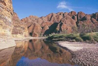 Purnululu National Park: Bungle Bungle National Park is also called the Purnululu National Park and is home to the peculiar rocky stripped mounds.   The rocky mounds (or Bungle