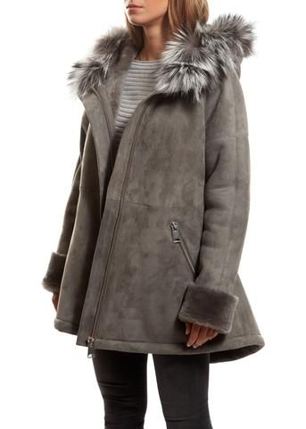 Jessimara Light Grey Sheepskin Duffle Coat