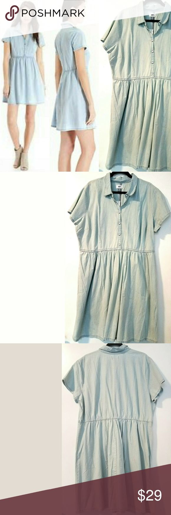 """Old Navy XXL Light Wash Chambray Shirt Dress NWT This Old Navy XXL Light Wash Chambray Shirt Dress is NEW with Tag. Bust measures 25"""" across laying flat measured from pit to pit so 50"""" around. No stretch. 100% cotton. 39.5"""" Long. NEW! ::: Bundle and save! ::: No trades. ::: Model pics from OldNavy.com Old Navy Dresses"""