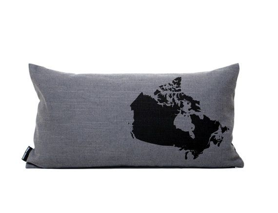 Map of Canada Pillow Cover in Dark Grey by NicoleTarasick on Etsy, (Made in Canada)