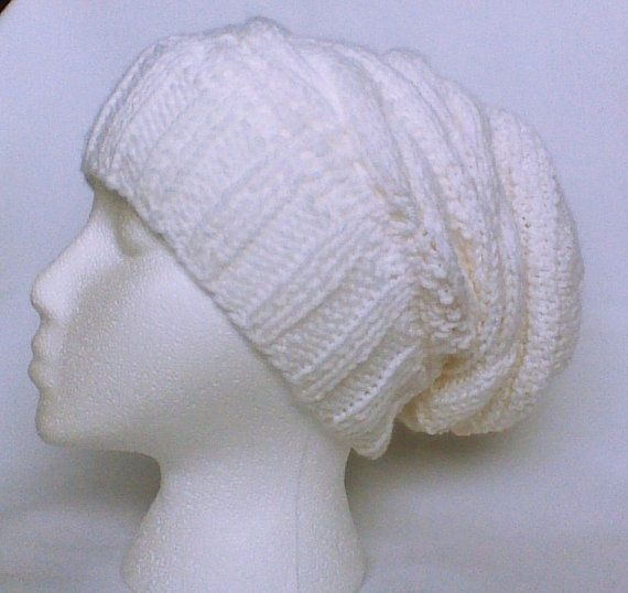 Hey, I found this really awesome Etsy listing at https://www.etsy.com/listing/173734314/white-slouchy-hat-hand-knit-beanie-cable