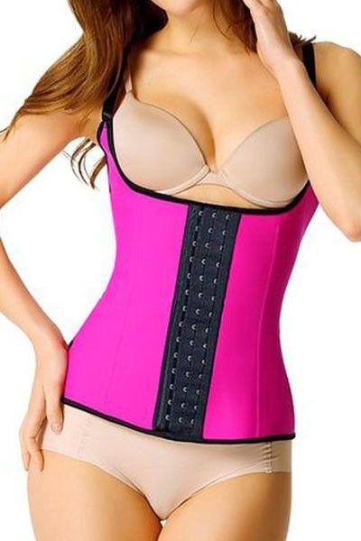 Rosy Steel Boned Latex Waist Trainer Vest