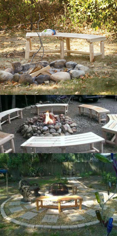 Solid cedar benches wrap around the campfire!