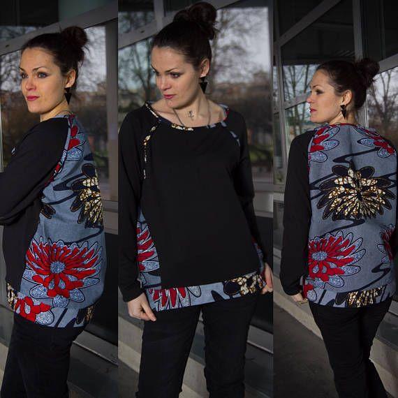 design exquis belle qualité large éventail Sweat shirt femme, Ankara, noir et Wax bleu, ethnique et ...