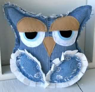 Denim owl, lol. This link goes to Craftster but the owl isn't there anymore.