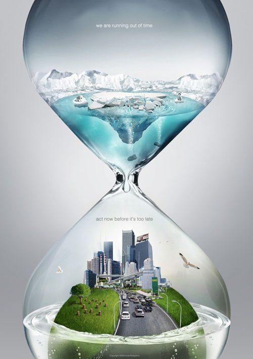Hourglass of time. Act now before it's too late. This is a great metaphor and the advertisement engages the viewer to take action.