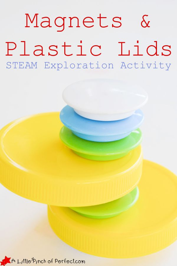 Science Exploration Activity for Kids: Magnets & Plastic Lids (kids can develop their problem solving skills, fine motor skills, and creativity while playing) | A Little Pinch of Perfect